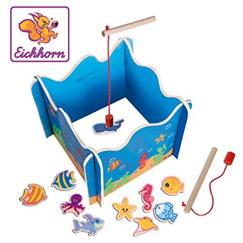 Eichhorn 100002089 Angelspiel mit Zwei Angeln, Holzspielzeug, Geschicklichkeit, ab 3 Jahren, 16 teilig, Bunt