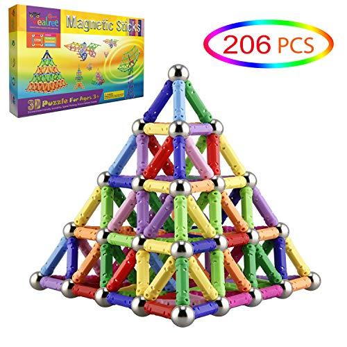 Veatree 206 Stücke Puzzle Magnetische Bausteine Spielzeug Magnet BAU Bauen Kit Bildung Spielzeug für Kinder...