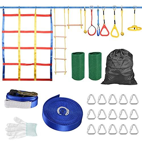 4YANG 15M Slackline Set Ninja Warrior Hindernisparcours, Kinder...