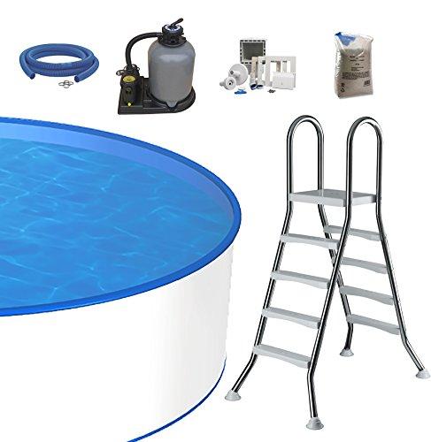 Pool-Set Ø 5m Tiefe 1,20m, 0,6mm Stahlmantel & 0,8mm Innenfolie mit Keilbiese, Sandfilteranlage SF133 mit...