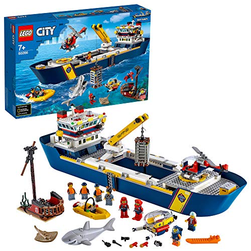 LEGO 60266 City Meeresforschungsschiff Schwimmendes Spielzeugboot, Tiefsee-Unterwasserset, Tauchabenteuer für...