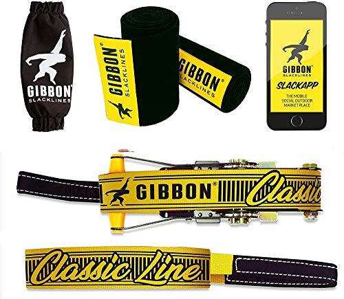 Gibbon Slacklines Classic Line mit Treewear, Gelb, 15 Meter (12,5m...