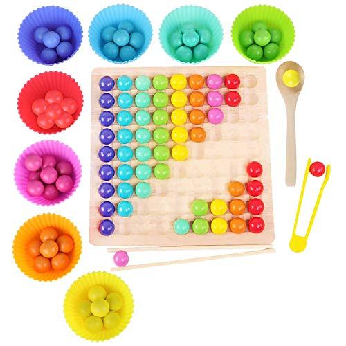 Montessori Spielzeug, GUBOOM Holz Clip Beads...