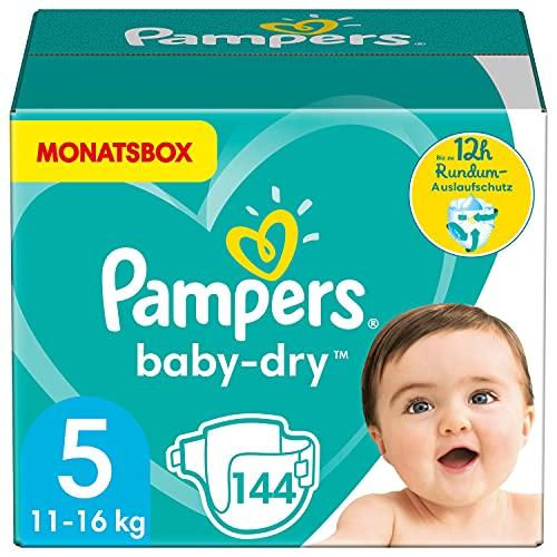 Pampers Windeln Größe 5 (11-16kg) Baby Dry, 144 Stück, MONATSBOX,...