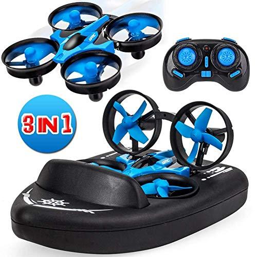 Mini-Drohne für Kinder, ferngesteuerte Boote für Pools und Seen, RC-Car 3 in 1 Seelandluft-Modus,...