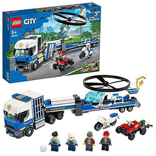 LEGO 60244 City Polizeihubschrauber-Transport, Bauset mit LKW, Quad...