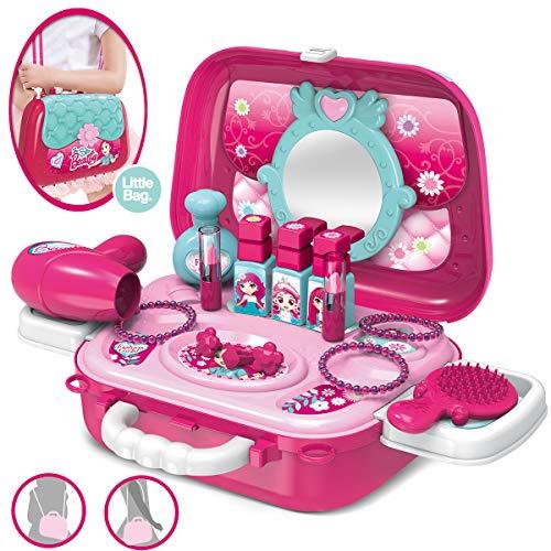 Dreamon Rollenspiel Spielzeug Schminkset kinderfön 2 in 1 Set mit Vielen Zubehör für Mädchen Prinzessin 3...