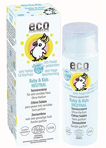 eco cosmetics Baby Sonnencreme LSF50+ neutral, wasserfest, vegan, ohne Mikroplastik, Naturkosmetik für...