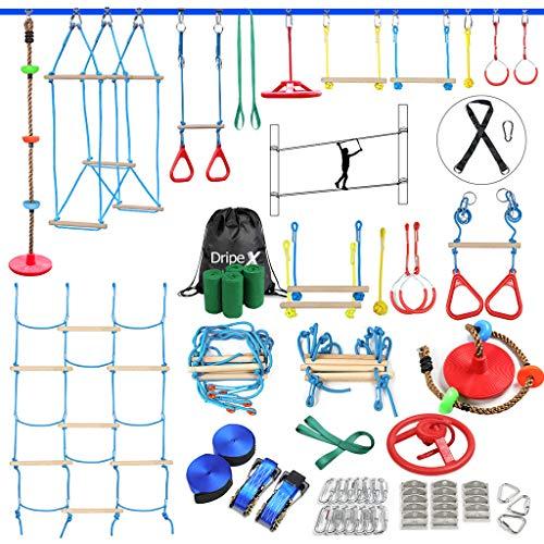 Ninja Slackline Set, Hinderniskurs für Kinder – 2 x 18 m Ninja...