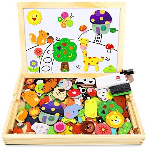 Jojoin Magnetisches Holzpuzzle mit Doppelseitiger Tafel, Holzspielzeug...