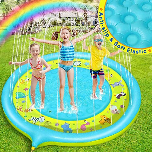 Dookey Splash Pad, 170CM Anti-Rutsch Kinder Wasser Sprinkler Pad, Sommer Garten Großes Wasserspielmatte,...