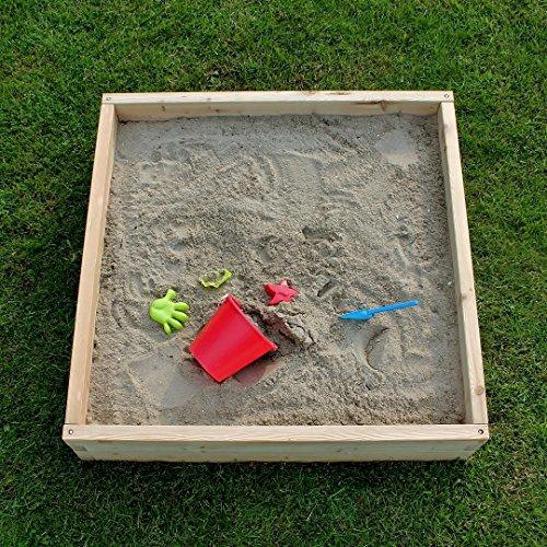 Witbosch Sandkasten Holz 107 x 107 x 25 cm - Sandkasten Groß XL -...