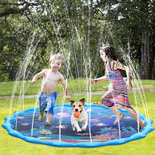 Fostoy Splash Pad, 68 Zoll Splash Play Matte Wasser-Spielmatte Sprinkler Wasserspielzeug Spielmatte Kinder...