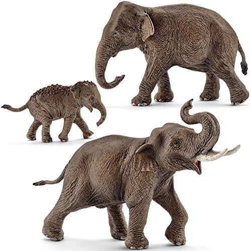 Schleich kt-20840 Asiatische Elefanten Familie - 14753, 14754, 14755...