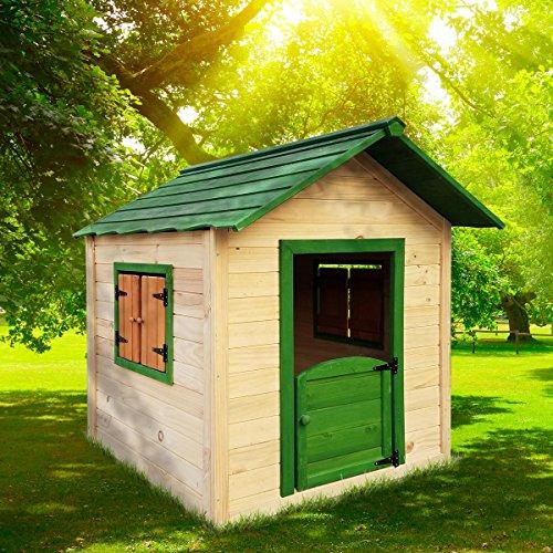 BRAST Spielhaus für Kinder 106 x111x132cm Tannenholz...