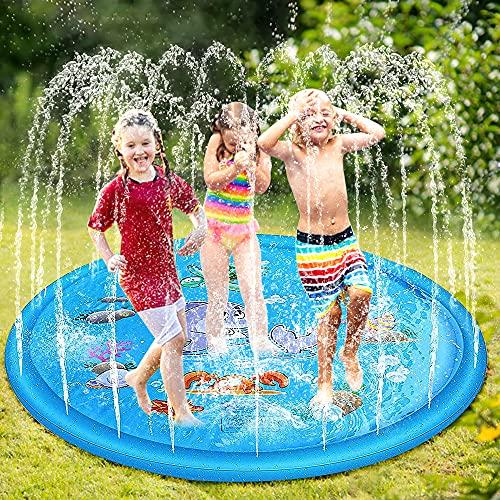 phixilin Splash Pad,170cm Sprinkler Wasser-Spielmatte Anti-Rutsch...
