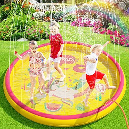 Peradix Splash Pad, 170CM Sprinkler Wasser-Spielmatte Splash Play Matte,Outdoor Sommer Garten Wasserspielzeug...