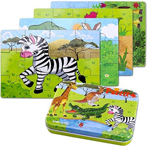 Kinderpuzzle, 64PCS Puzzle für Kinder, Vier...