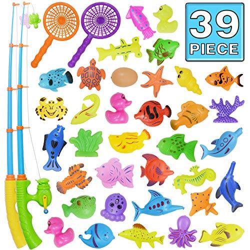 Nunki Toy Angeln Spielzeug, Badespielzeug, 39 Stücke Magnetisches Angeln Spielzeug, Originales farbiges...
