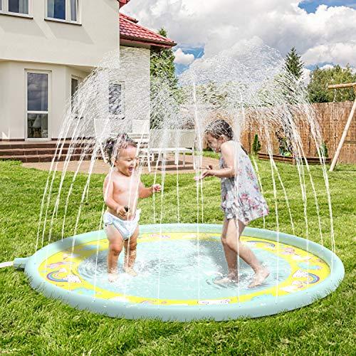 Anpro 170CM Splash Pad, Sprinkler Wasser-Spielmatte Splash Play Matte, Sommer Garten Wasserspielzeug für...
