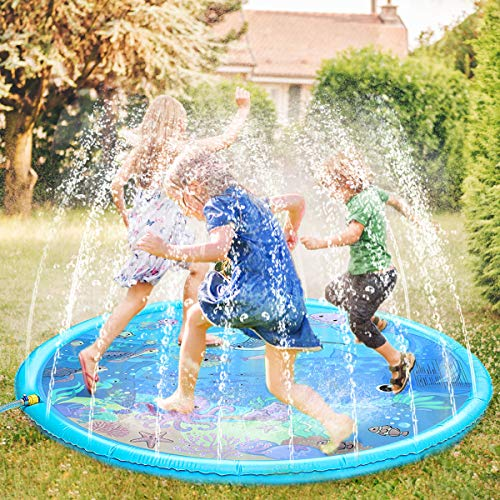 Fostoy Sprinkler für Kinder, Sprinkler Wasser-Spielmatte Splash Play Matte, Sommer Garten Wasserspielzeug...