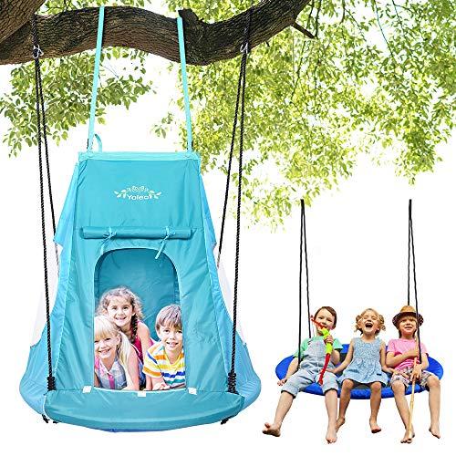 YOLEO 100cm Nestschaukel mit Zelt, Kinderschaukel Gartenschaukel,...