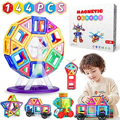 WEARXI Magnetische Bausteine Kinder - 144pc Magnete Spielzeug Kinder,...
