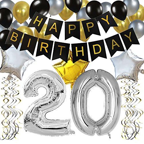 KUNGYO Classy 20. Geburtstag Party Dekorationen Satz- Schwarz Happy...