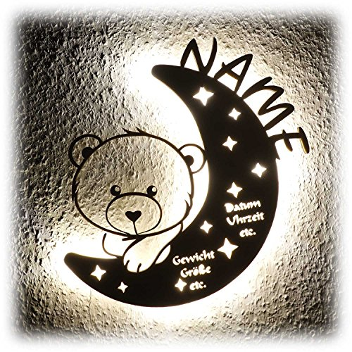 LED Nachtlicht Bär auf Mond mit Name personalisiert I Besondere Taufgeschenke Geschenke zur Geburt und Taufe...