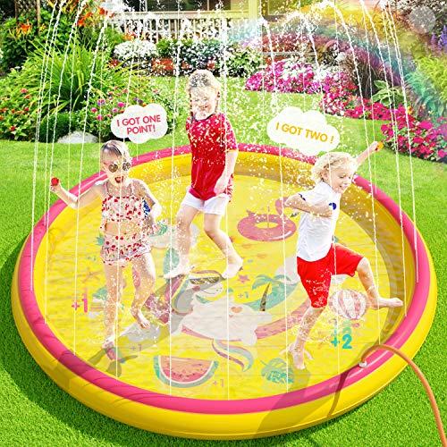 Peradix Splash Pad, 170CM Sprinkler Wasser-Spielmatte Splash Play...