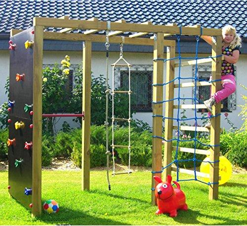 Spiel&Garten XXL Klettergerüst 2,4m Kletterturm mit Kletternetz...