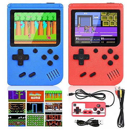 GOLDGE 2 Stück Handheld Spielekonsole 400 Klassische Spiele Retro-Videospielkonsole Unterstützt Anschließen...
