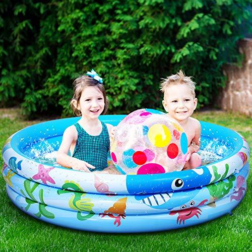 iBaseToy 120 cm x 28 cm aufblasbarer Kinderpool, 3...