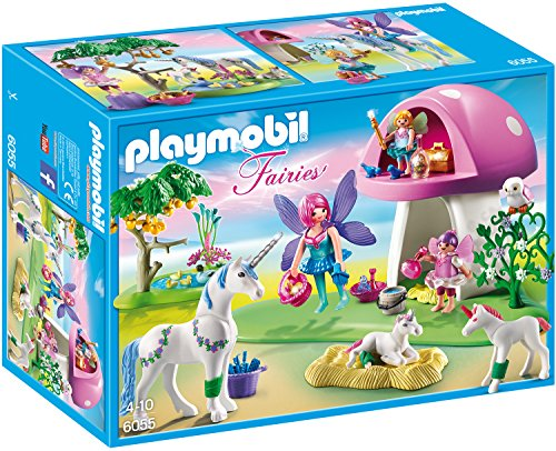 PLAYMOBIL Fairies 6055 Feenwäldchen mit Einhornplfege inkl. Feen,...