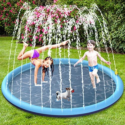 BOIROS Splash Pad wasserspielzeug, 170CM Sprinkler Wasserspielmatte,...
