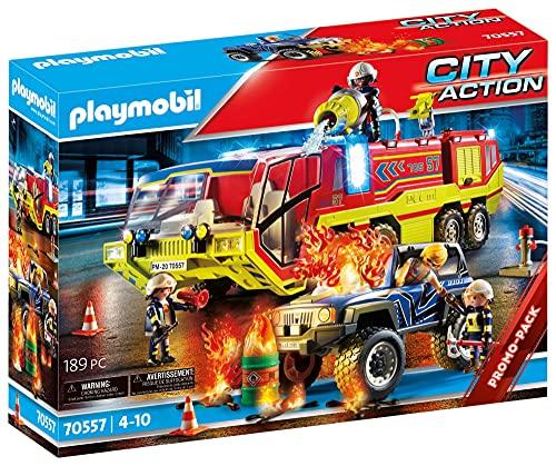 PLAYMOBIL City Action 70557 Feuerwehreinsatz mit Löschfahrzeug, Inkl....