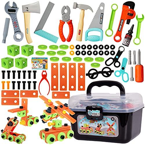 Buyger 82 Stück Werkzeugset Spielzeug Werkzeugkoffer Werkzeugkasten...