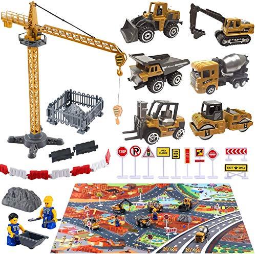 Baufahrzeuge Kinder Fahrzeug Spielzeug mit Spielmatte Kran Spielzeug...