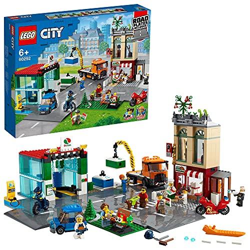 LEGO 60292 City Stadtzentrum Bauset mit Spielzeug-Motorbike, Fahrrad,...