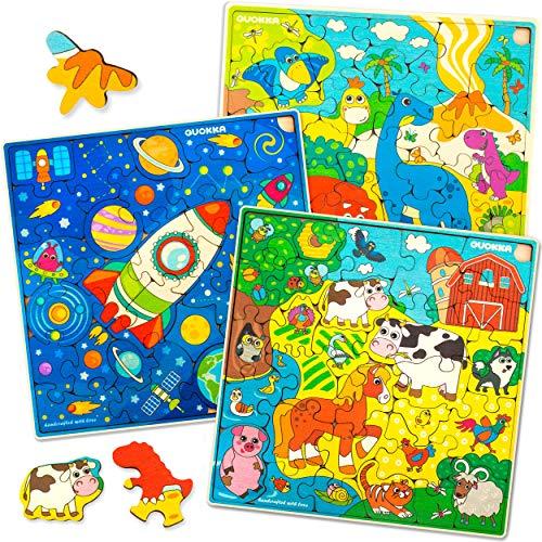 Puzzle ab 4 5 6 Jahre - 3 x 30 Teile Kinder Holz...