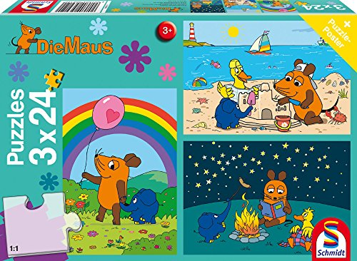 Schmidt Spiele 56212 Die Maus, Gute Freunde, 3x24 Teile...