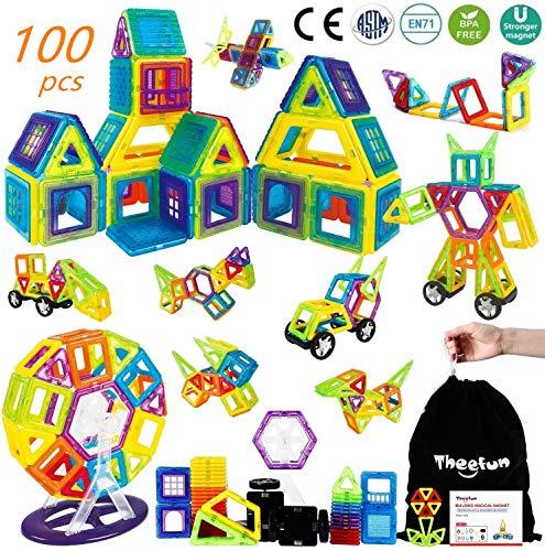 Theefun Magnetische Bausteine, 100 Pcs Magnetspielzeug Magnete Kinder, Magnetic Bauklötze Baukasten Kinder,...