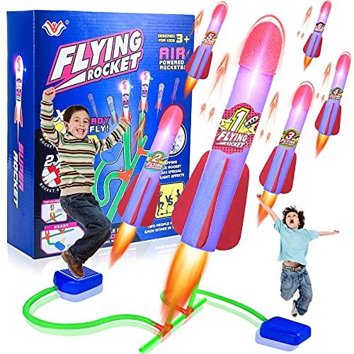 Herefun Rakete Spielzeug für Kinder, Druckluftrakete Spielzeug mit 6...