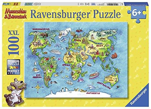 Ravensburger Kinderpuzzle 10595 - Mäuseschlau & Bärenstark Reise um die Welt 100 Teile XXL - Puzzle für...