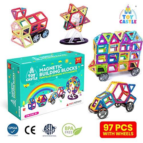 TOY CASTLE Magnetische Bausteine für Kinder (97-teilig) Bau-Set mit...