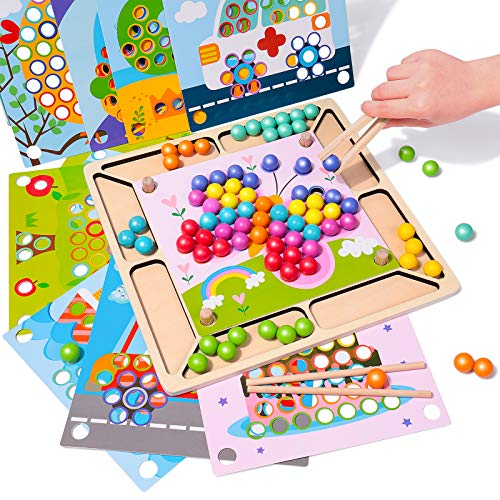 Rolimate Holzspielzeug Brettspiele Clip Perlen Puzzle, Montessori...