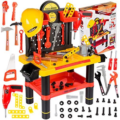 Werkbank Kinder Kinderwerkbank & Zubehör Werkstatt KP2646 Kleinkindspielzeug Kinderbank Werkzeug Schrauben...