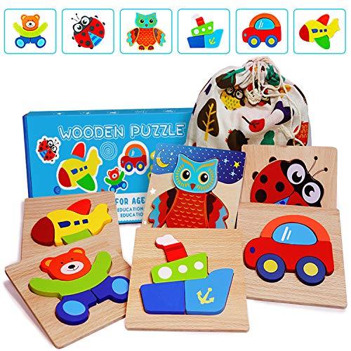 E-MANIS 3D Holz Puzzle Kinderspielzeug Spielzeug für ab 1 2 3 4 5 Jahr Kinder Holzpuzzles Holzspielzeug...