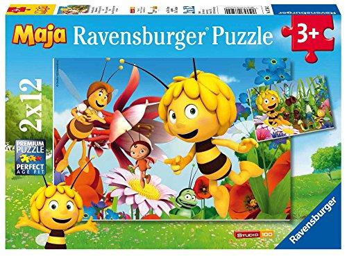 Ravensburger Kinderpuzzle 07594 - Biene Maja auf der Blumenwiese - 2 x 12 Teile