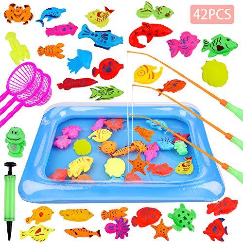 GOLDGE 42 Stück Angeln Spielzeug Badespielzeug Badewannenspielzeug...